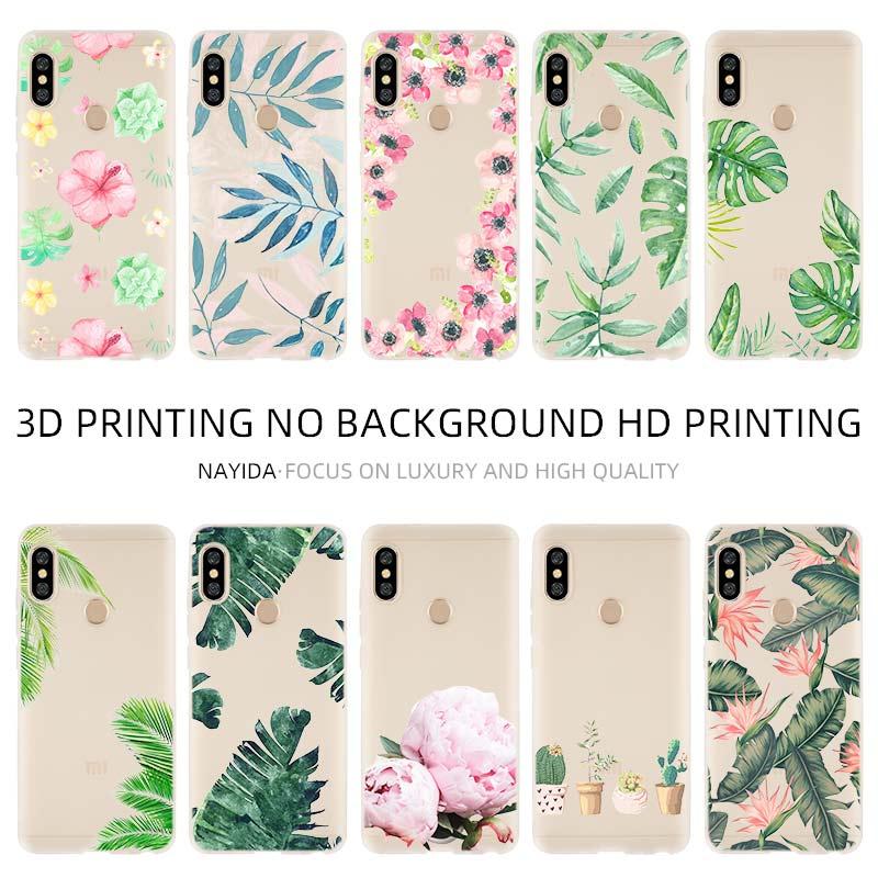 Funda de teléfono suave para Xiaomi 9 8 Mi A1 A2 A3 lite F1 6 5X Redmi Note 8 7 6 5 Rosa poney flor plantas Cactus Banana hojas