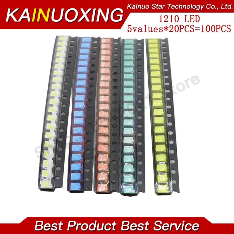 5 valores * 20 piezas = 100 unidades brillantes 3528 1210 SMD LED Kit rojo/verde/azul/amarillo/blanco 20 piezas cada diodo LED 3,5*2,8*1,9mm