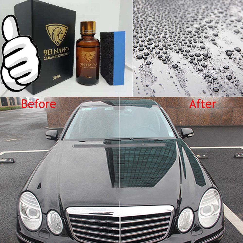 Vidrio líquido 9H recubrimiento de cerámica hidrofóbica pulidores de coche Anti-rasguño cuidado de la pintura de la motocicleta Auto detalle de la capa de vidrio esmalte de coche