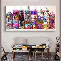 graffiti art spray can collection wall posters and prints colorful graffiti paint bottle decorative pictures for bar cafe