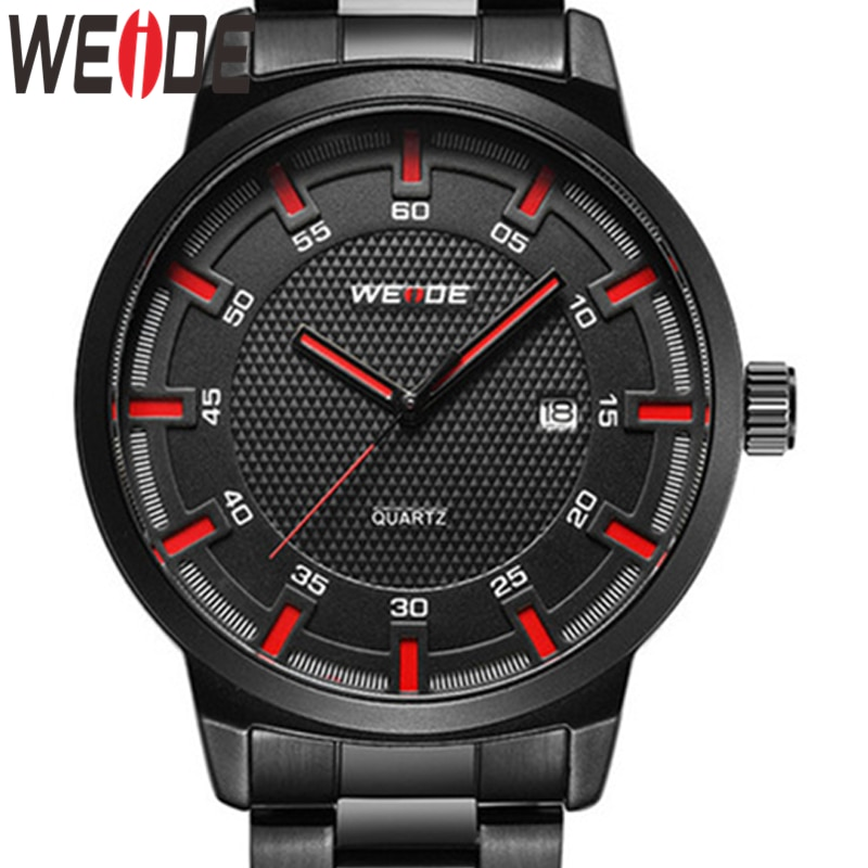 WEIDE Quality Men Simple Red Hands Black Stainless Steel Belt Strap Military Quartz Movement Male Wristwatches relogio Masculino