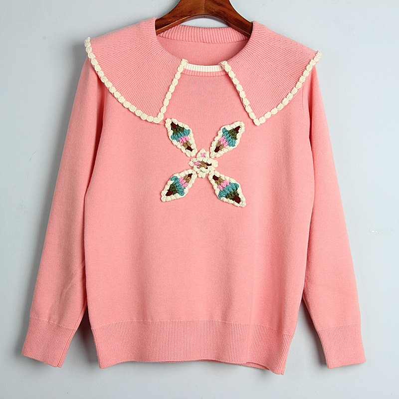 1101 2020   Autumn Sweater Free Shipping Lapel  Neck Long Sleeve Kint Pink  Black White Fashion Womens Clothes  S m L    dl enlarge