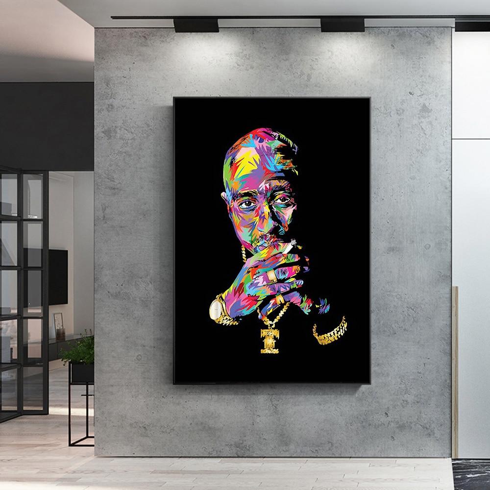 Grafiti negro Kobe Bryant deporte súper estrella de baloncesto Fans lienzo pintura pared arte habitación Decoración Adhesivo de pared para niño regalo (sin marco)