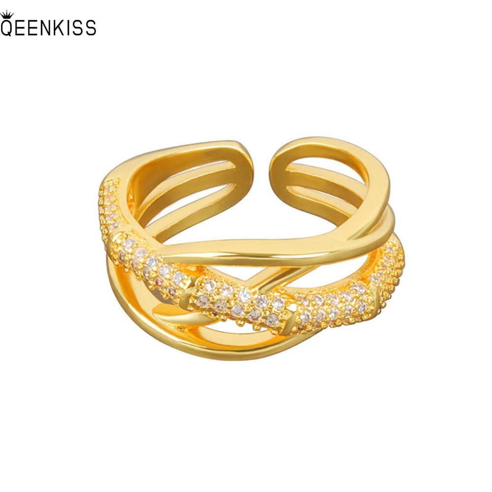 QEENKISS RG649 изящные ювелирные изделия оптом Модное женское свадебное кольцо на день рождения с крестом из циркония класса ААА 18 карат золотое Б...