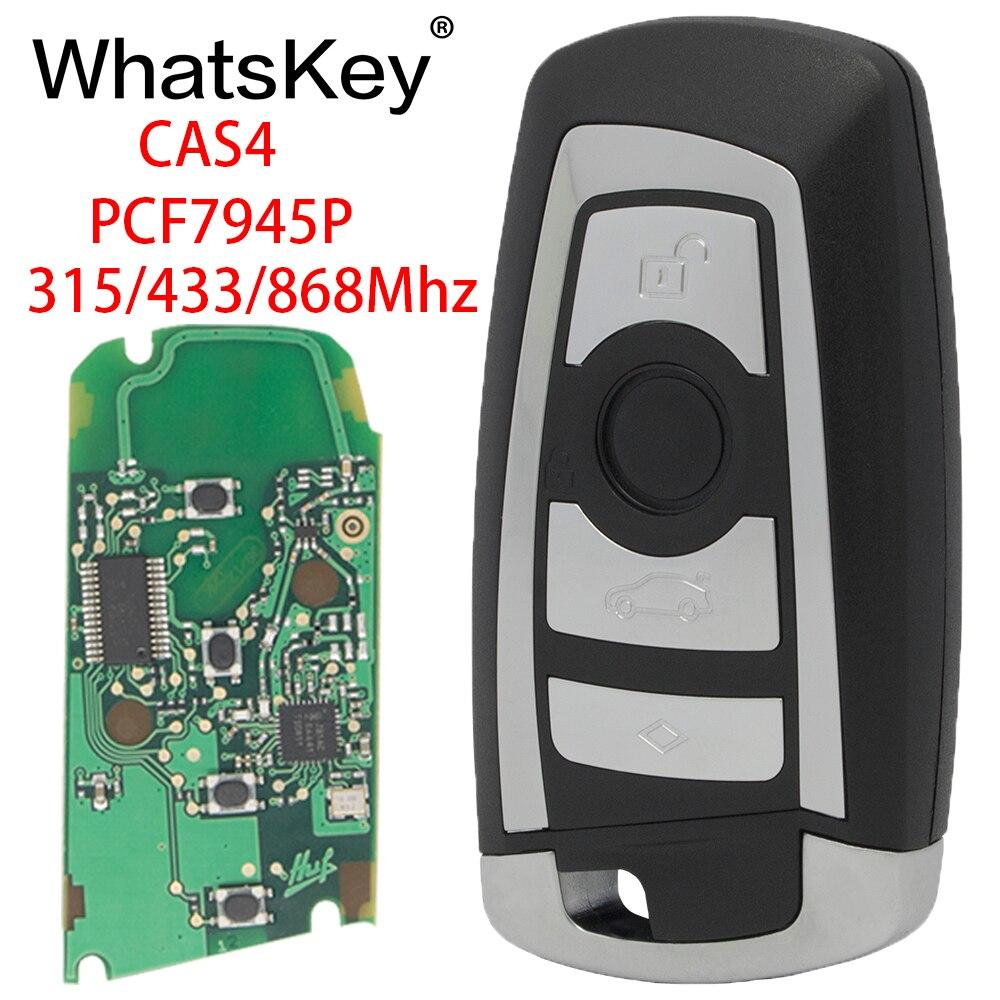 WhatsKey Carro Inteligente Chave Remota Fob 315/433/868Mhz Chip de PCF7945P Keytless Entrada Para BMW CAS4 3 5 7 Série E60 E90 X3 X5 M3 F10 F30