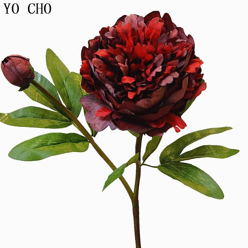Йо Чо искусственный цветок пион из шёлка, цветок в винтажном стиле большой пион DIY букет, домашние вечерние украшения для выпускного бала, св...