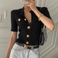 south korea chic summer elegant round neck big button design slim skin short sleeve t shirt