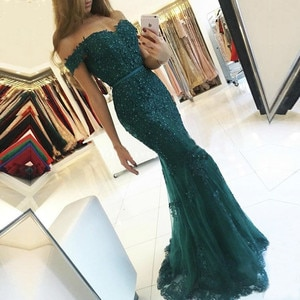 2019 Off Shoulder Mermaid In Women Lace Evening Prom Dresses Floor Length Gown Formal Long Party Tulle Dress For Gowns