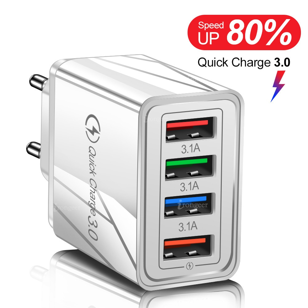 USB Charger For Mobile Phone Quick Charge 3.0 4.0 3A 18W For iphone Samsung Tablet Fast Charging EU/