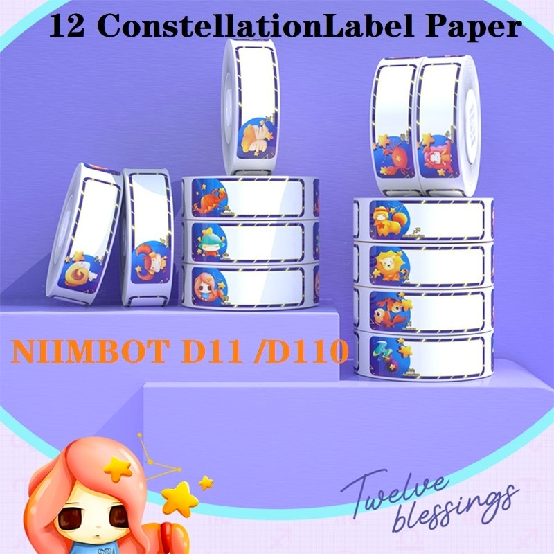 NIIMBOT D11 Thermal Label Paper 12 Constellation Name Sticker Waterproof Classified Storage Color Sticker Gift Cosmetics Labels