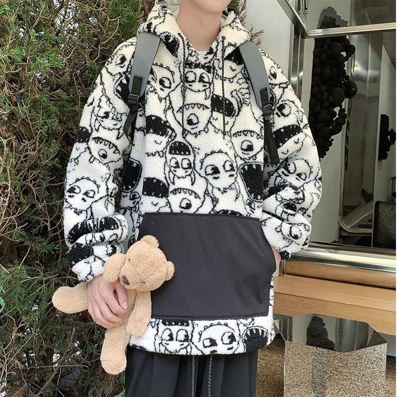 Мужская флисовая куртка в стиле «бойфренд», теплая Повседневная куртка в Корейском стиле, Куртки Оверсайз с подкладкой, модная уличная одеж...