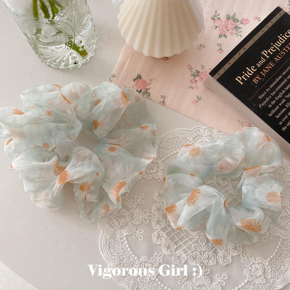 Cintas de goma elásticas para niñas, cintas para el pelo, cintas para el pelo, accesorios para el pelo, con diseño Floral de Margarita