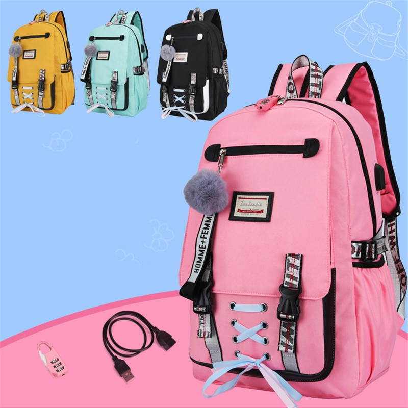 Large school bags for teenage girls usb with lock Anti theft backpack women Book bag big High School