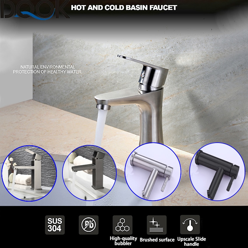 DQOK Brushed Nickle Bathroom Basin Faucets Cold/Hot Mixer Basin Sink Tap Black Water Faucet Bathroom