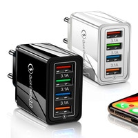 Портативное зарядное устройство с поддержкой QC 3.0, 4 USB-порта, 45 Вт, американская и европейская вилка, 6 цветов на выбор