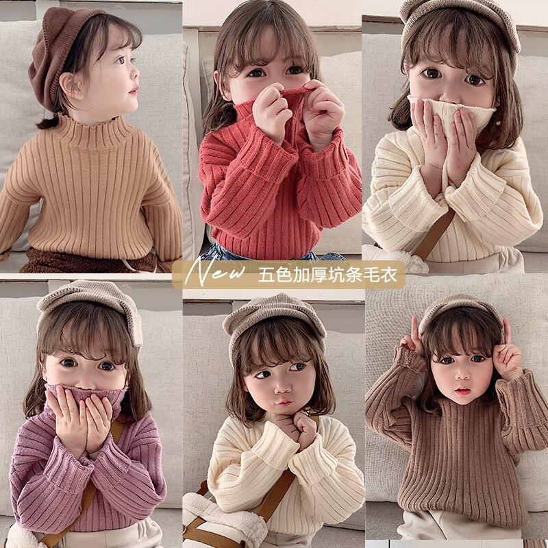 2019 otoño invierno nuevo bebé niñas suéter ocio color sólido grueso cálido suéter niños ropa
