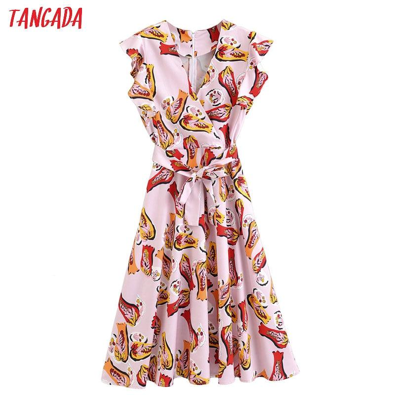 Tangada moda mujer estampado Rosa vestido midi volantes cuello pico volantes manga corta señoras verano gasa vestidos 2F08