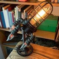 vintage rocket ship lamp steampunk industrial desk night lights decoractive bedside table light for bar bedroom decor kids gifts
