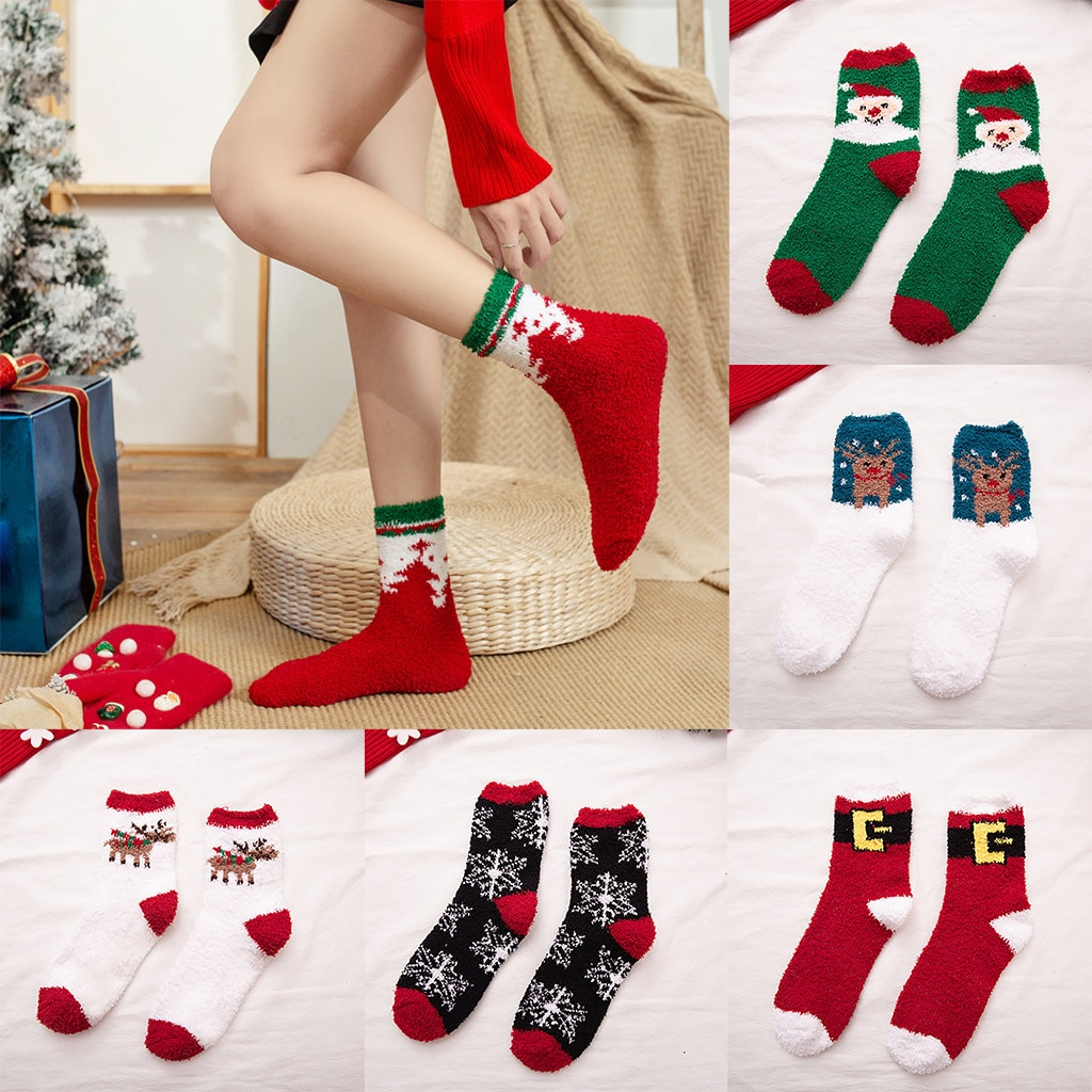 Warm Winter Home Women Girl Christmas Printing Bright Color Soft Bed Floor Socks Christmas Sleeping Socks Casual Cotton Socks
