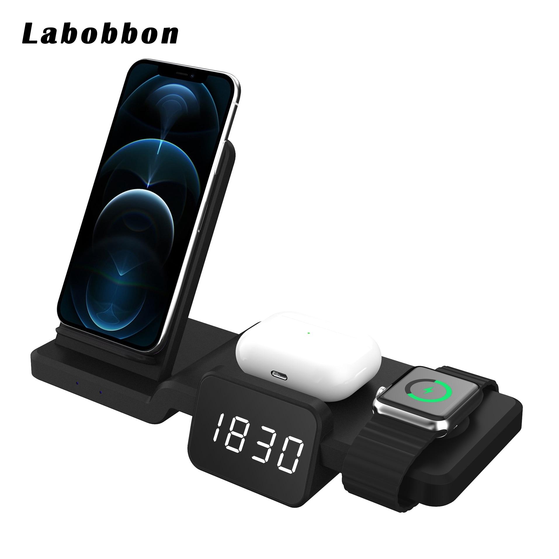 Labobbon 5 in1 تشى شاحن لاسلكي ل أبل ساعة 6 5 4 3 2 شحن سريع حوض محطة آيفون 8 Pus X XS XR 11 برو ماكس 12