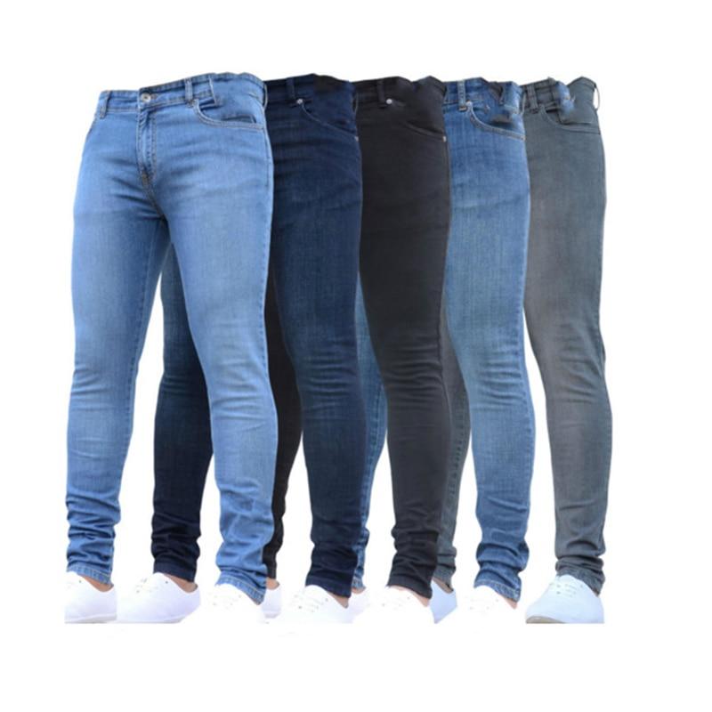 Джинсы мужские узкие стрейчевые, винтажные классические брюки-карандаш из денима, Слим кэжуал, большие размеры 4XL