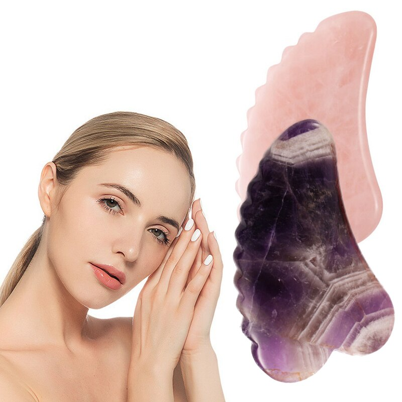 1PC Natural Jade Gua Sha Board Scraper Massage Quartz Jade Guasha Stone For Chin Neck Face Lifting W