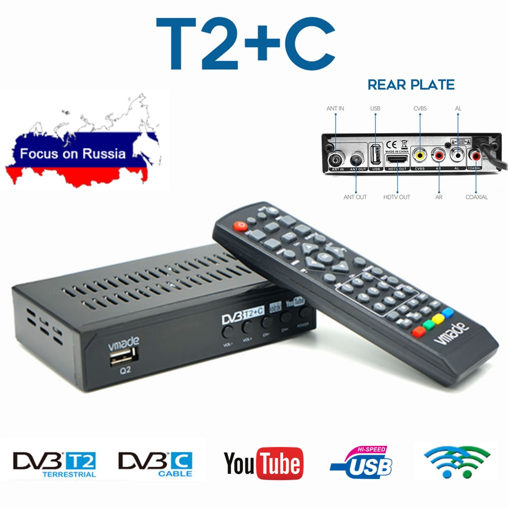 DVB-T2 sintonizador de TV HD DVB-C receptor Digital terrestre combinado Youtube AC3 decodificador de Audio totalmente 1080P H.264 IPTV decodificador