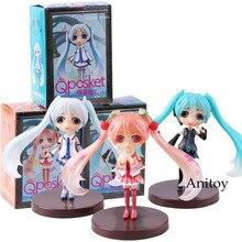 QPosket Q Posket Hatsune Miku Snow Miku Sakura PVC Anime Action Figures Collectible Model Toy 3pcs/set