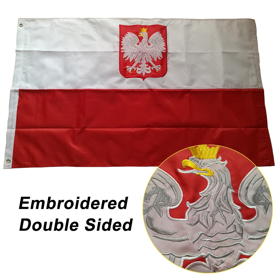 Double-sided Embroidered Sewn Poland Flag Polish National World Country Banner Oxford Fabric 3x5ft 150x90cm, free shipping
