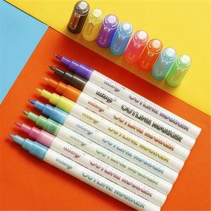Self-outline Metallic Markers, 8pcs Double Line Pen BuIIet Journal Pens & Colored Permanent Marker Pens for Kids, Adults, Amateu