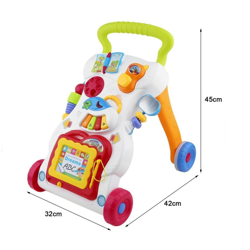 Baby Walker Multifunction Infant Stand-to-Sit Toddler Four Wheels Trolley Kids Learning Walking Toddler Toys Piano Drawing Gift enlarge