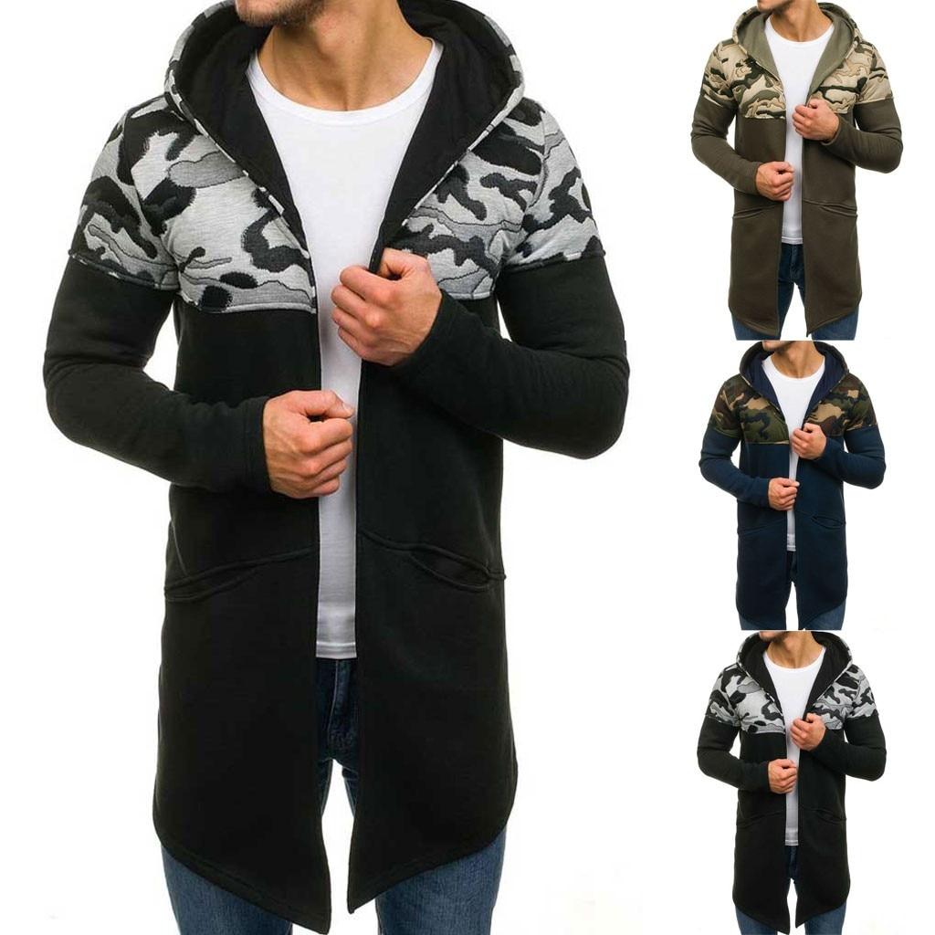 Hombres camuflaje con capucha gabardina cárdigan manga larga Outwear blusa gota envío independiente estación tamaño venta proveedor