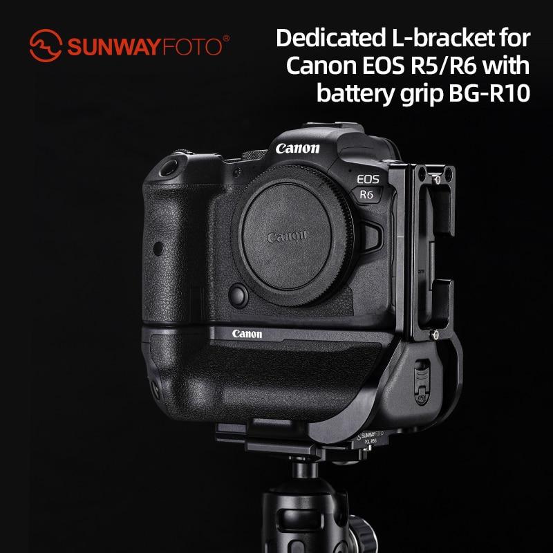SUNWAYFOTO PCL-R5G مخصص L-قوس لكانون EOS R5/R6 مع بطارية قبضة BG-R10 أركا RRS متوافق