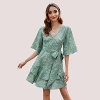 2021 spring and summer printing v neck waist tie short sleeve dress leisure vacation beach womens clothing