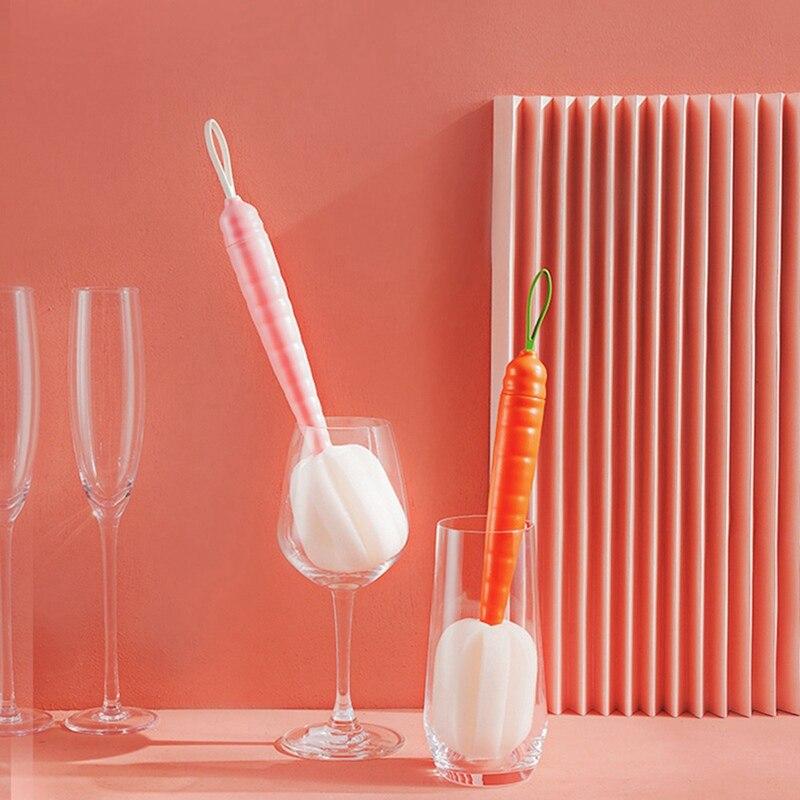 Cenoura alça longa esponja garrafa copo de vidro garrafa de leite escova de limpeza bule descontaminação purificador cozinha ferramentas de limpeza