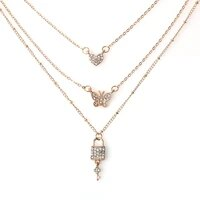 fashion 3 layers couple necklace 2020 new trendy crystal butterfly heart lock pendant neck chain for women choker jewelry gifts