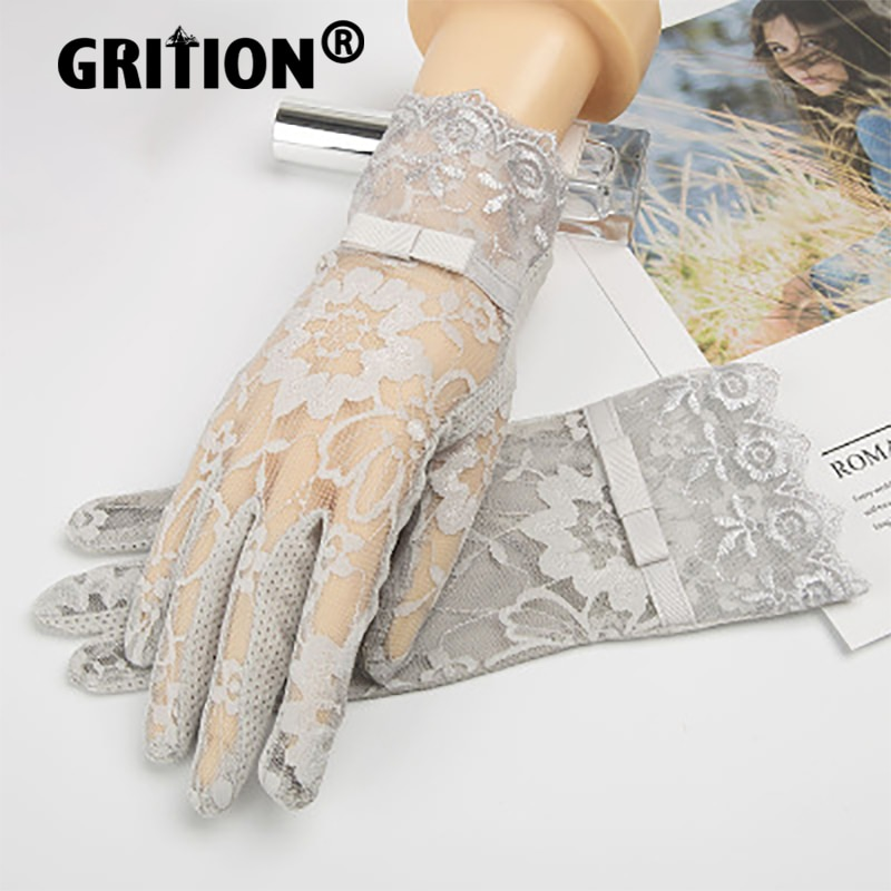 GRITION Womens Gloves Lace Lightweight Soft Touch Screen Outdoor Driving Cycling Ladies Breathable N