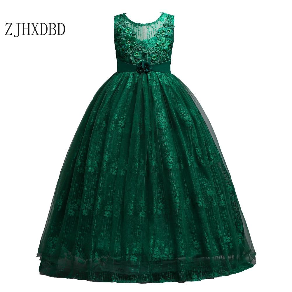 2020 Teenage Girls Dress Summer Children's Clothing Party Elegant Princess Long Baby Girls Kids Lace Wedding Ceremony Dresses
