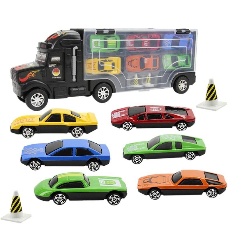 9 peças/set das crianças portáteis mini caminhão grande brinquedo não-tóxico plástico modelo de carro brinquedo recipiente caminhão carrinho de armazenamento modelo de brinquedo