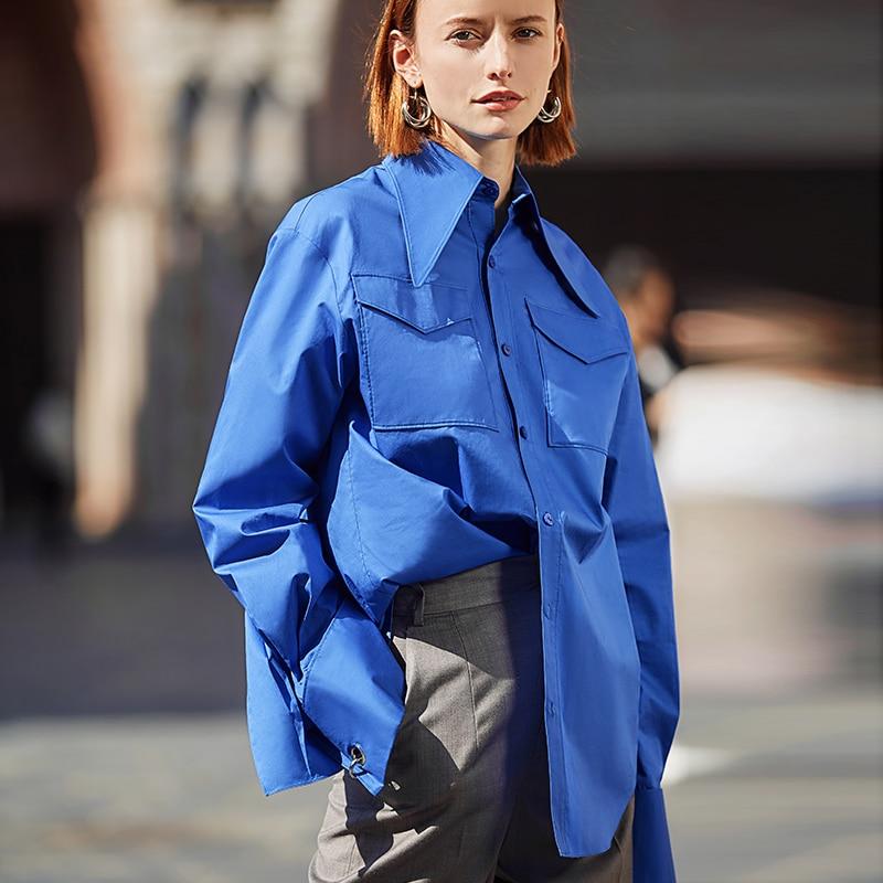 Ael camisa azul real das mulheres blusa de lapela feminina moda estilo safari primavera verão superior roupas soltas mais tamanho novo