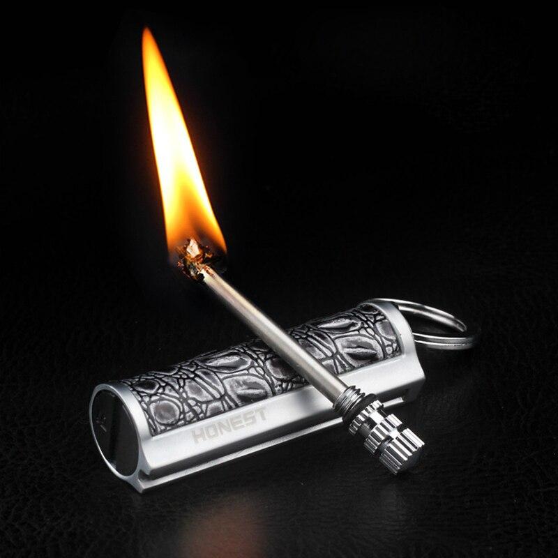 Nova fogo metal retro fósforos flint fogo iniciar querosene isqueiro chaveiro portátil ferramenta de segurança sobrevivência ao ar livre