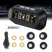Wireless Digital Smart Car TPMS Solar Power Tire Pressure Alarm Monitor System Auto Security Alarm E