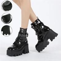 2021 women ankle high platform boots wedges thick bottom chain decoration females shoes fashion comfort punk autumn big sizes 43