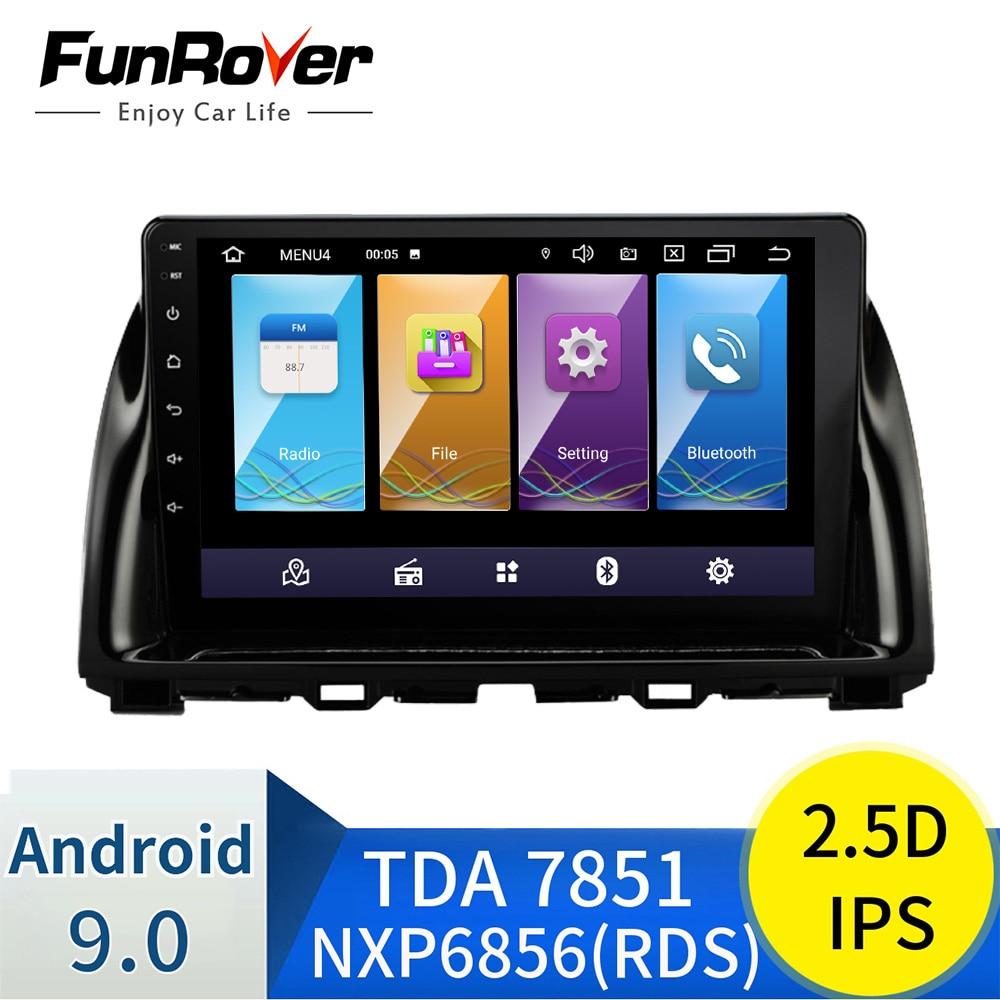 Funrover android 9.0 2.5d + ips carro dvd rádio reprodutor multimídia para mazda cx5 CX-5 cx 5 2013-2016 vedio gps navegação estéreo dsp