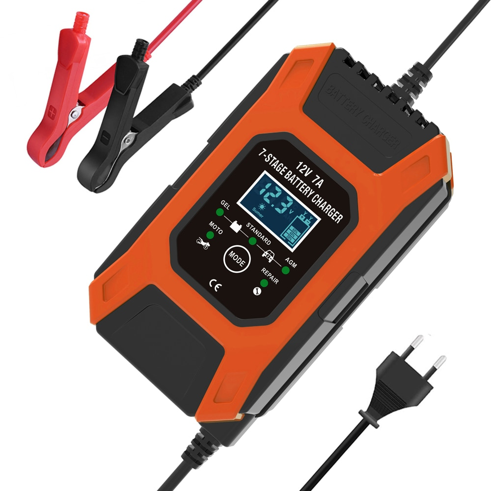 FOXSUR 12V 7A 7-stage Battery Charger , Lead GEL STD AGM Car Motorcycle Battery Charger, Pulse charg