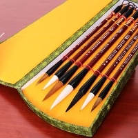 7pcslot chinese calligraphy brush pen set weasel hair writing brush ink pen painting medium regular script brush gift box set
