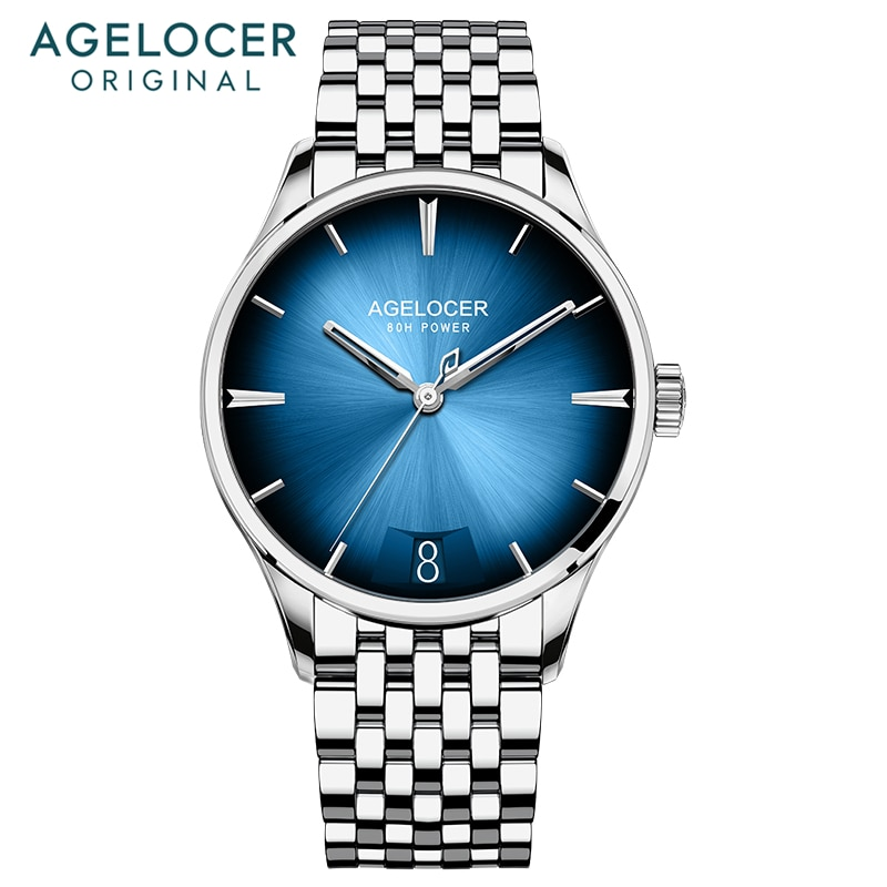 AGELOCER, reloj mecánico automático ultradelgado de marca suiza para hombre, reserva de energía 80H, color azul, dial con gradiente, funda panorámica