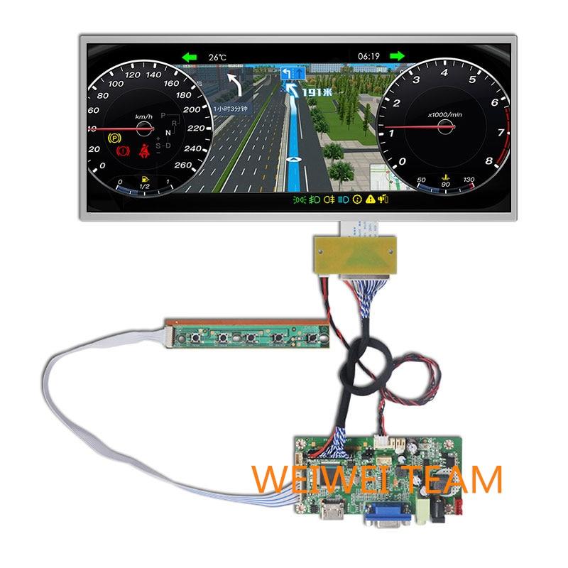 12,3 zoll 1920*720 IPS display HSD123KPW1-A30 LCD Instrument Cluster Dashboard HDMI VGA fahrer bord für auto Navigation bildschirm