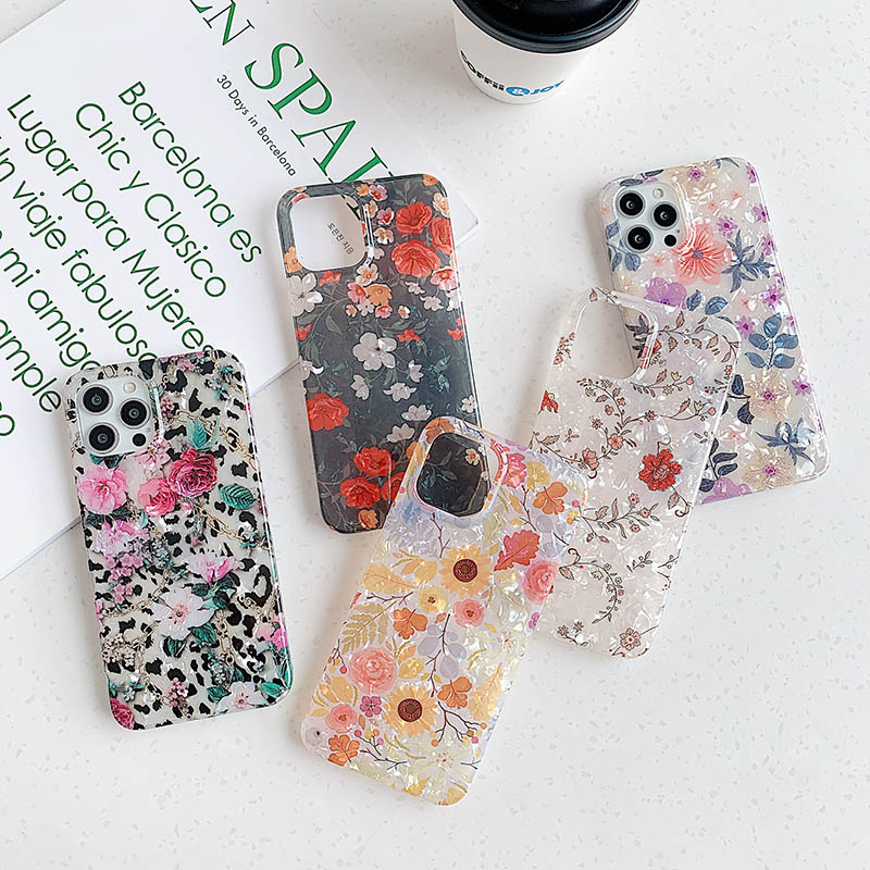 Ins windy shredded flowers for Apple 11 phone case iPhone 12 pro max xs xr 7 8plus shell print phone bag