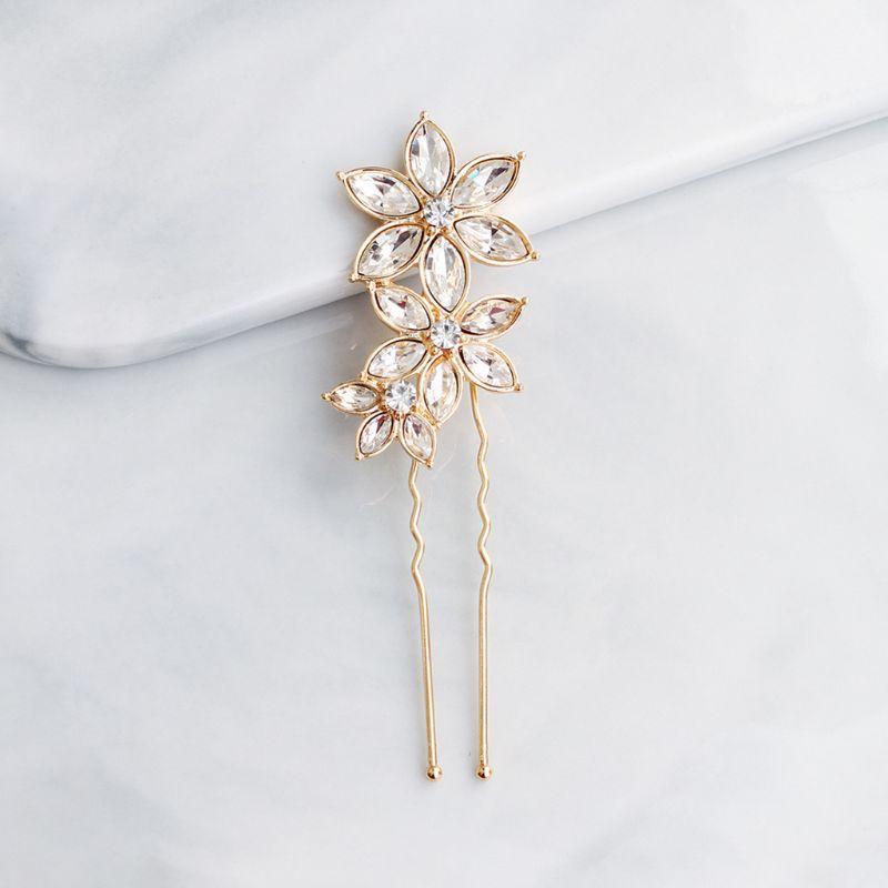 Женские свадебные заколки для волос с имитацией кристаллов, три цветка, стразы, u-форменные зажимы, ювелирное изделие в стиле ретро